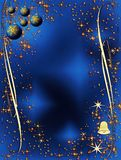 蓝色圣诞节装饰典雅金黄 皇族释放例证