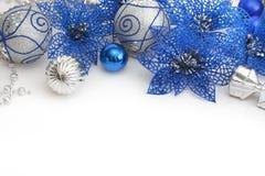 蓝色圣诞节装饰另外银 免版税库存照片