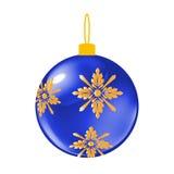 蓝色圣诞节装饰球 向量例证