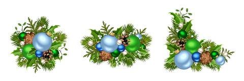 蓝色圣诞节装饰绿色 也corel凹道例证向量 库存照片