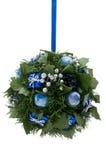 蓝色圣诞节要素装饰银 库存照片