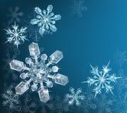 蓝色圣诞节雪花背景 免版税库存图片