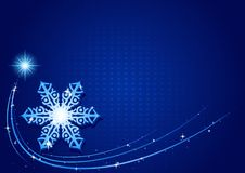 蓝色圣诞节雪花 库存照片