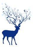 蓝色圣诞节鹿,传染媒介 免版税库存图片