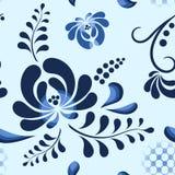 蓝色在俄国样式的传染媒介花卉样式 库存图片