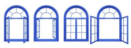 蓝色在白色的被成拱形的窗口的汇集 图库摄影