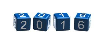 2016蓝色在白色背景的立方体文本 免版税图库摄影