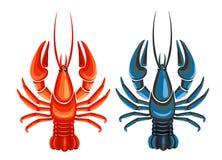 蓝色在白色背景隔绝的小龙虾和红色 图库摄影