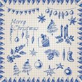 蓝色在纸的圣诞节集合墨水在笼子 库存照片