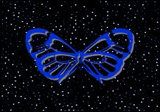 蓝色在黑背景的蝴蝶贵重金属与珍珠 皇族释放例证