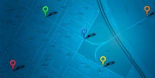 蓝色地图POI 免版税图库摄影