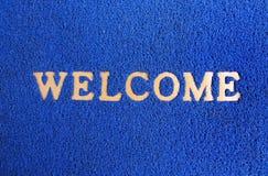 蓝色地毯门垫。 库存图片