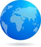 蓝色地球图标-技术主题 免版税库存图片