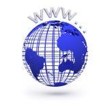 蓝色地球地球。万维网互联网概念 库存图片