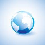 蓝色地球标志 库存例证