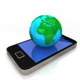 蓝色地球绿色smartphone 免版税库存图片