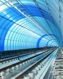蓝色地铁管隧道 图库摄影