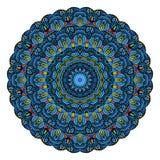 蓝色坛场圆的Zentangle样式传染媒介 免版税库存照片