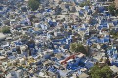 蓝色城市乔德普尔城在拉贾斯坦,印度 库存图片