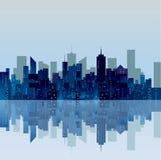蓝色城市反射 免版税库存图片