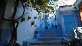 蓝色城市在摩洛哥-舍夫沙万 库存图片