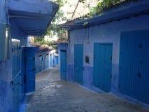 蓝色城市在摩洛哥-舍夫沙万 库存照片
