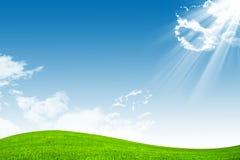 蓝色域绿色天空 库存图片