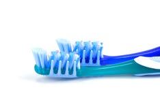 蓝色塑料牙刷,顶视图,两toothb的构成 图库摄影