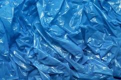 蓝色塑料袋纹理 免版税库存照片