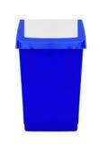 蓝色塑料轻碰上面摇摆容器,厨房废等 免版税库存照片