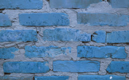 蓝色墙壁砖块 库存图片