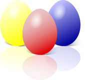 蓝色复活节彩蛋红色黄色 皇族释放例证