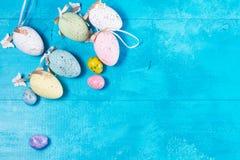 蓝色复活节彩蛋 免版税库存图片