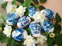 蓝色复活节彩蛋 库存照片