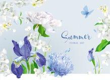蓝色夏天开花花束 皇族释放例证