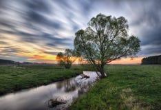 蓝色多云域草绿色早晨天空春天 一条美丽如画的河 免版税库存图片