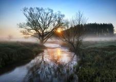 蓝色多云域草绿色早晨天空春天 一条美丽如画的河 免版税库存照片