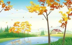 蓝色多云秋天域横向偏僻的天空结构树黄色 免版税图库摄影