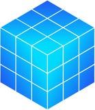 蓝色多维数据集rubik s 免版税库存照片