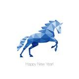 蓝色多角形马作为新年的标志2014年 图库摄影