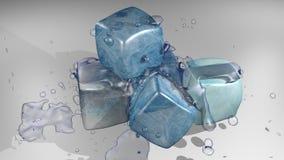 蓝色多维数据集冰 库存照片