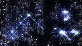 蓝色夜城市抽象夜场面  Loopable 向量例证