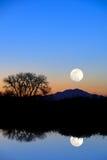 蓝色夜间月亮反映 免版税图库摄影