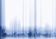 蓝色大厦在whitebackground的,技术概念背景城市 免版税图库摄影