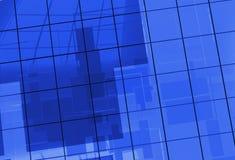 蓝色大块玻璃背景 图库摄影