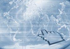 蓝色大映射世界 免版税库存图片