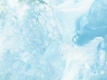 蓝色大理石抽象手画背景 库存图片