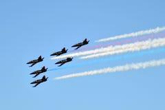 蓝色天使喷射aiirplanes在码头39,旧金山,加州 图库摄影