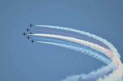 蓝色天使喷射aiirplanes在码头30,旧金山,加州 库存图片