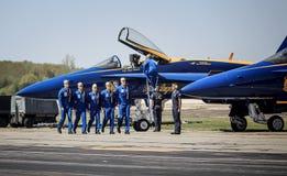 蓝色天使飞行员 免版税库存照片